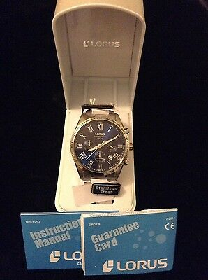 mens brand new lorus chronograph stainless steel braclet watch