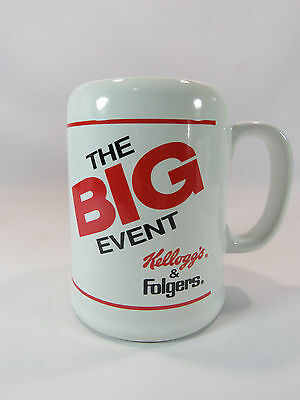 "Vintage Large Folgers Kelloggs Coffee Mug Cup White w Red ""The Big Event"""