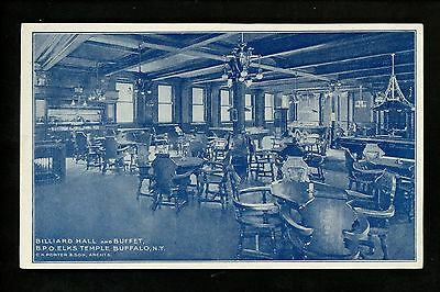 Buffalo, New York NY Vintage postcard BPO Elks Temple Billiards & Restaurant