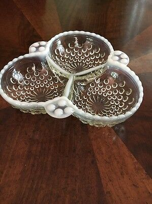 Anchor Hocking Moonstone , Hobnail Opalescent 3 section Candy /  Relish Dish