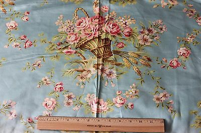 "Stunning French Antique Roses & Baskets Textile Fabric Sample c.1900~16""LX31""W"