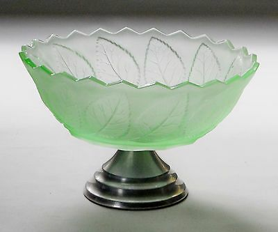 Art Deco Bagley Frosted Green Glass Bowl 'Roses & Leaf pattern'