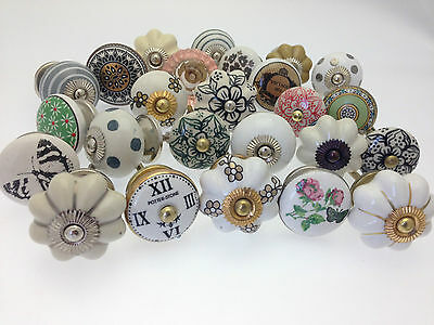 12 Mixed Set of Shabby Chic Ceramic Cupboard Kitchen Door Knob 'Slight Seconds'