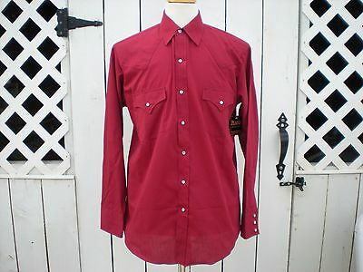 Vintage Plains Western Wear Burgundy Red Snap Casual Dress Shirt Medium M New