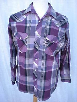 Vintage Wrangler Western Snap Casual Dress Shirt 15 1/2 - 33 Medium M