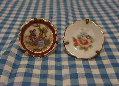 TWO . Mini LIMOGES Plates . with Display Stands . People Scene & Flowers