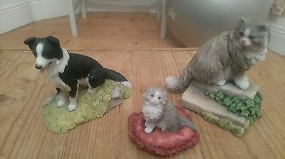 THREE TEVIOTDALE Figurines COLLIE DOG , SMALL CAT, LARGE CAT SIGNED TOM MACKIE