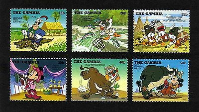 Gambia 1995 Disney/ Cowboys & Indians short set of 6 values MNH