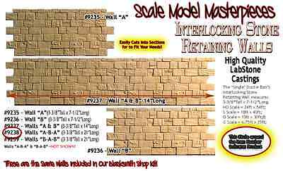 "INTERLOCKING STONE RETAINING WALL ""A-B-A"" Scale Model Masterpieces/Yorke Sn3"