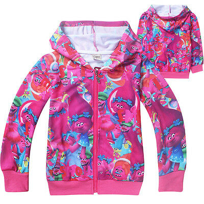girls Trolls clothing top hoodie thin jacket tracksuit outfit size 4-10 AU STOCK