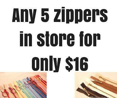ANY 5 ZIPPERS. Antique Brass Metal&Fun Contrasting Chunky 20-40cm. FAST AU POST