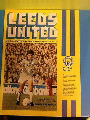 Leeds United Verses Middlesbrough 23.12.1978  Football Programme