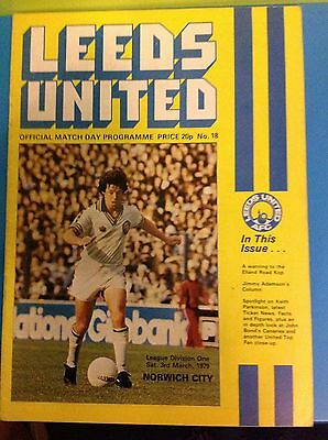 Leeds United Verses Norwich city 3.3.1979 Football Programme