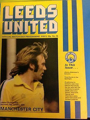 Leeds United Verses Manchester City 13.1.1979 Football Programme