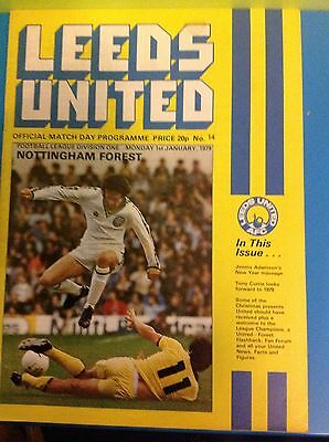 Leeds United Verses Nottingham Forest 1.1.1979 Football Programme