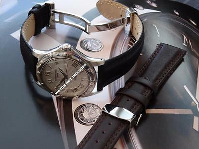 Hi Quality Italian Genuine Leather Strap Band With Deployment Clasp To Fit Seiko