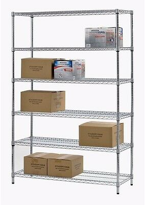 Storage Shelving For Garage 6 Shelf Steel Wire Commercial Restaurant Food Rack