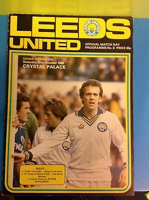 Leeds United Verses Crystal palace 25.10.1980 Football Programme