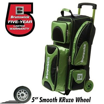 Brunswick Flash X 3 Ball Bowling Roller Bag With Urethane Wheels Color Green
