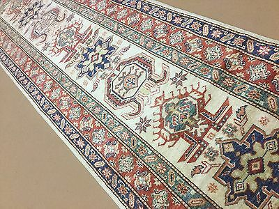 "2'.7"" X 9'.3"" Beige Geometric All Over Persian Oriental Rug Runner Hand Knotted"