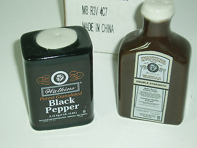 "WATKINS Salt And Pepper  Shakers 3"" Tall Pepper And Vanilla Ads"
