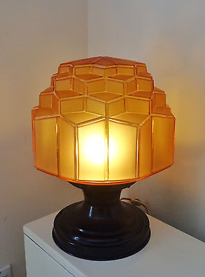 Antique Art Deco Lamp With Very Unusual Geometrical 3D Glass Shade