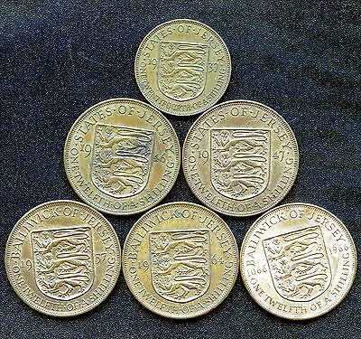 States of Jersey 1937 1/24th Sh. 1946 1947 1957 1964 & 1966 1/12th Sh. Coins