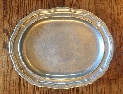 """Wilton Pewter 14.75"""" Country French Large Oval Tray Matte Textured Satin Platter"""