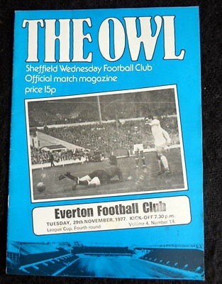 Sheffield Wednesday v  Everton league  cup 4th  round       29-11-1977