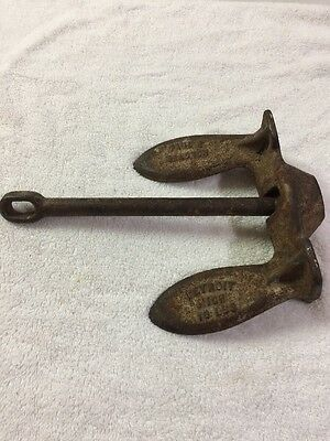Vintage 10 POUND  Iron boat anchor  Made In Detroit Michigan.Paul Salomon