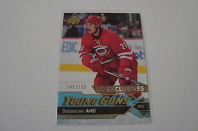 2016-17 Upper Deck Series 1 Young Guns Exclusives Sebastian Aho  #040/100