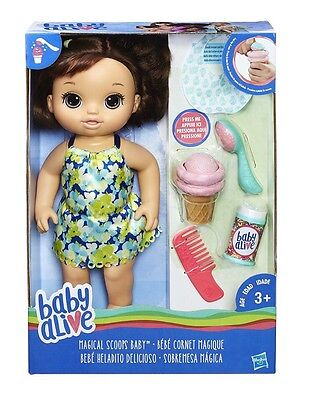 New Baby Alive Brunette Magical Scoops Doll ~ NEW