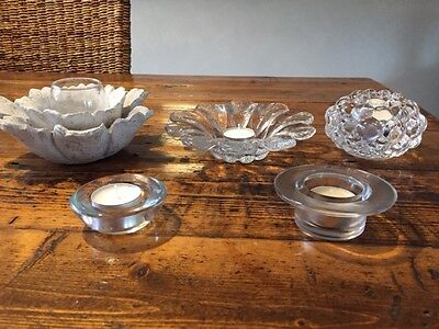 5 X Candle Holders - Glass