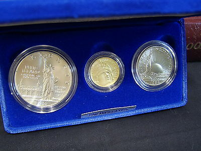 1986 Statue Of Liberty 3-Coin Commemorative Uncirculated Set