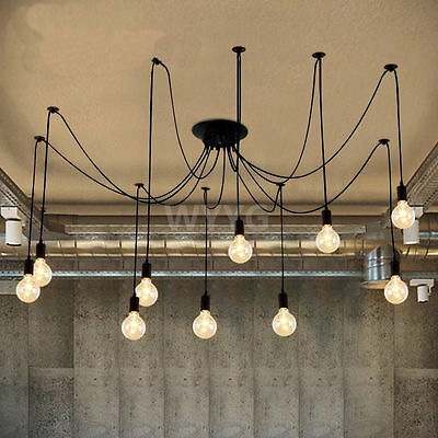 10 Light Ceiling Cords Vintage Industrial Chandelier Pendant Lamp Fitting DIY