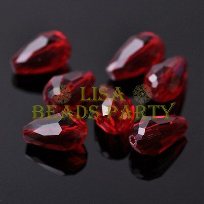 New 20pcs 16X10mm Faceted Teardrop Crystal Glass Spacer Loose Beads Deep Red