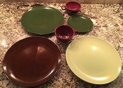 Mixed Lot Dishes Mid Century American Pottery Unmarked