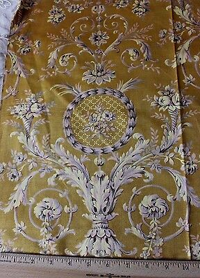 "French Antique Cotton Sateen Textile Fabric Sample c1905~18""L X 32""W~Home"
