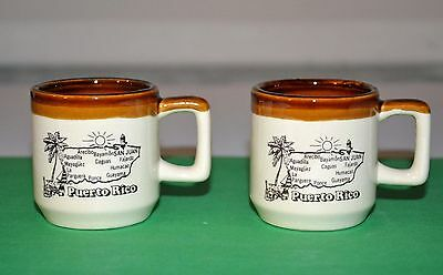Set of 2 Vintage Puerto Rico Souvenir Ceramic Shot Glasses Mini Mugs 1970s? Map