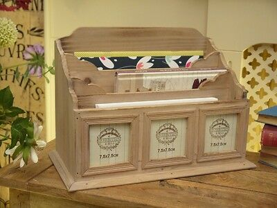 Letter Rack Post Storage Stand Wood Wooden Holder Photos Vintage Style NEW