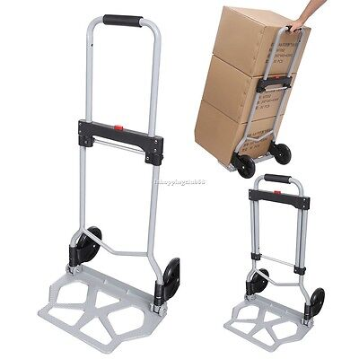 220lbs Folding Hand Truck Cart / Dolly Collapsible Luggage Trolley Cart Silver~