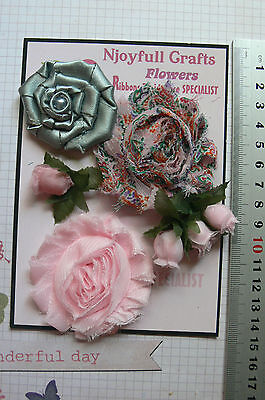 PINK & SAGE Fabric Organza & Satin 4 Rose Bud 3 Flower Pk15-60mm Njoyfull Crafts