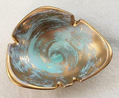 Midcentury Vintage Stangl Pottery 3906 Antique Gold Ashtray with Turquoise