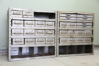 Vintage Industrial Equipto Steel File Drawer Cabinet Small Parts Bin Organizer
