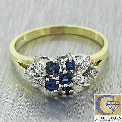 Vintage Estate 14k Solid Yellow Gold .16ctw Sapphire .12ctw Diamond Cluster Ring