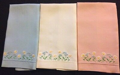 Three Guest Towels Blue, White and Pink Hand Embroidered Adorable  Daisies