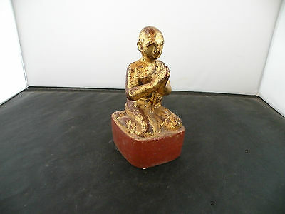 Antique 19th century Disciple Monk teak wood carving, sculpture, Lacquer, Burma