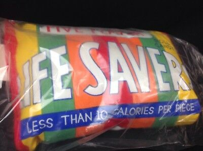 "NOS 1980's Life Savers Pillow. New, Free Shipping, 14"" Long"