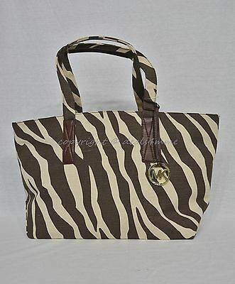 Michael Kors Large East West Animal Print Fabric Beach Tote Beige/Dark Brown