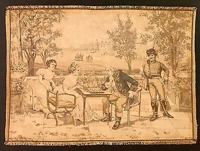 Small Antique Vintage French Tapestry Nobleman Lady Chess Hussar Soldier